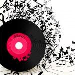 fond de musique abstraite avec disque vinyle et notes — Vecteur #22655043