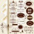 Collection of vintage calligraphic design elements and page deco - Stock Vector