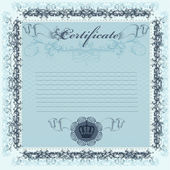 Certificate or coupon in blue color for design — Stock Vector