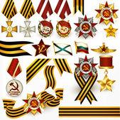 коллекция ретро русской медали и ленты для дизайна — Cтоковый вектор