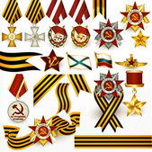 Collection of retro Russian medals and ribbons for design — Stok Vektör
