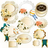 Collection of retro labels with roses flowers — Stock Vector
