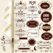 Colección de elementos de diseño vintage caligráficos y deco de página — Vector de stock