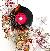 Creative music background with notes and ornament — Stockvektor