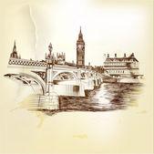 Antieke vector ansichtkaart met hand getrokken london bridge in sepia — Stockvector