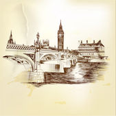 Antique vector postcard with hand drawn London bridge in sepia — Vector de stock