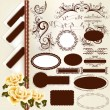 Stock Vector: Set of vintage design elements and page decorations