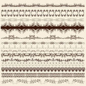Collection of calligraphic borders for design — Stock Vector