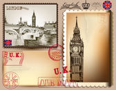 Collection of vintage vector postcards with detailed London — Stock Vector