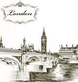 レトロな詳細な手の模倣 des のためロンドンのカードを描画 — ストックベクタ
