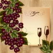 Elegant menu design for restaurant with cluster of grapes and wi - Image vectorielle