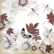 Floral background with leafs and flowers - Image vectorielle