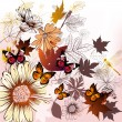 Fashion floral background with flowers and leafs - Image vectorielle