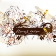 Floral design of background with banner - Image vectorielle