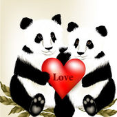 Cute couple of cartoon panda bears holding big red heart with w — Stockvector