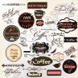 Calligraphic design elements and vintage labels for  cafe design — Vettoriali Stock