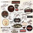 Calligraphic design elements and vintage labels for  cafe design — Stock vektor