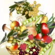 Vector food assorted fruit and vegetables olives, apple, raspbe — Vector de stock #23986031