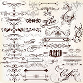 Calligraphic vector vintage design elements and page decorations — Stock Vector
