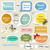 Collection of speech baubles or banners with approving and oth — Stock Vector