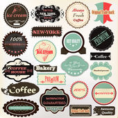 Collection of vintage labels coffee, ice cream and quality for d — 图库矢量图片