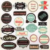 Vintage etiketleri kahve, dondurma ve kalite için d — Stok Vektör