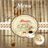 Elegant menu design with coffee elements on wood texture in vint — Cтоковый вектор