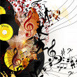 Artistic music background with vinyl record  and notes in psyche — Stockvektor