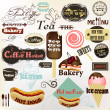 Collection of vintage labels and badges coffee, bakery, hot dogs — Stock Vector