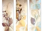 抽象的な色とりどりの花で設定の名刺テンプレート — ストックベクタ