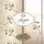 Beautiful wedding invitation card in pastel colors — Stock Vector