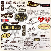 Collection of old styled vector signatures and labels cafe, coff — 图库矢量图片