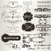 Collection of calligraphic design elements and page decorations — Stock Vector