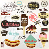 Collection of vintage labels and badges coffee, bakery, hot dogs — Vecteur