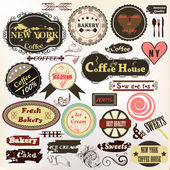 Collection of old styled badges or labels coffee house, bakery a — Vettoriale Stock