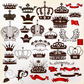 Collection of vector ornate crowns for design — Stock Vector
