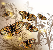 Background with vector butterflies for design — Stockvektor