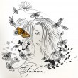 Fashion girl with long hair and butterflies - Stock Vector