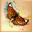 Elegant vintage design with orange butterfly and ink splats — Grafika wektorowa