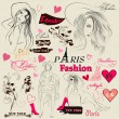 Vector de stock : Collection of fashion elements, sketch, girls and signatures