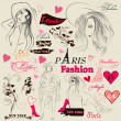 Collection of fashion elements, sketch, girls and signatures — Vector de stock #24653875