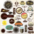 Collection of vintage grunge labels for your retro design — Stock Vector