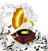Creative music background with old gramophone, butterflies and n — Stock Vector