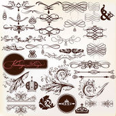 Collection of calligraphic vintage design elements and page deco — Stock Vector