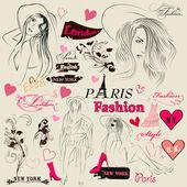 Collection d'éléments de la mode, les croquis, les filles et les signatures — Vecteur
