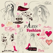 Collection of fashion elements, sketch, girls and signatures — Vecteur