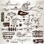 Collection of calligraphic vintage headlines and signatures for — Stock Vector