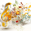 Постер, плакат: Art ornate treble clef with colorful splash staves and notes fo