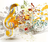 Art ornate treble clef with colorful splash, staves and notes fo — Stockvector