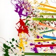 Abstract colorful art vector background with ink splash and penc - Stock Vector
